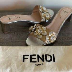 Fendi block metallic silver/gold sandal.